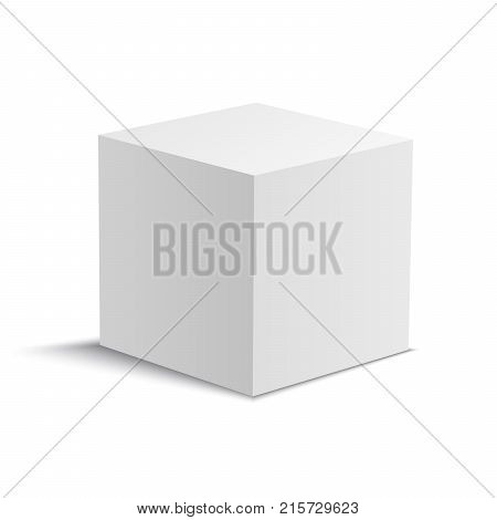 White vector cube. Vector stock illustration without background.