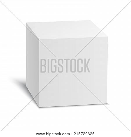 White vector cube. Vector stock illustration isolated on white background.