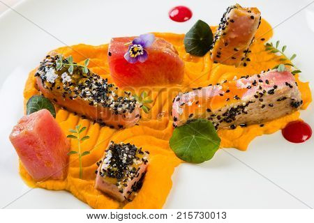 Red Tuna With Carrot Purée