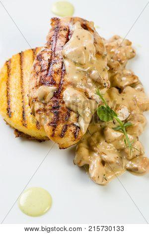 Chicken Breast With Grilled Polenta