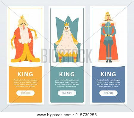 Set of vertical banners with different funny kings wearing golden crowns and mantles. Cartoon flat characters. Design for website, mobile app, card or poster. Vector illustration with place for text.