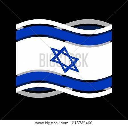 Israel Flag Ribbon Isolated. Israeli Symbol National Tape. State Country Sign. Vector Illustration
