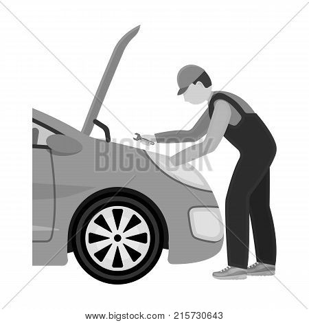 Auto mechanic and adjustment single icon in monochrome style for design.Car maintenance station vector symbol stock illustration .