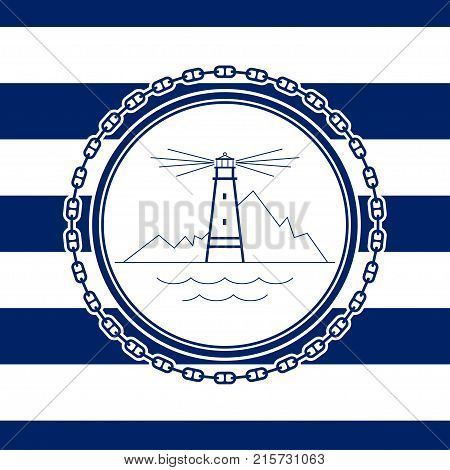 Sea Emblem on a Striped Marine Backgrounda Lighthouse in a Line Style Illustration