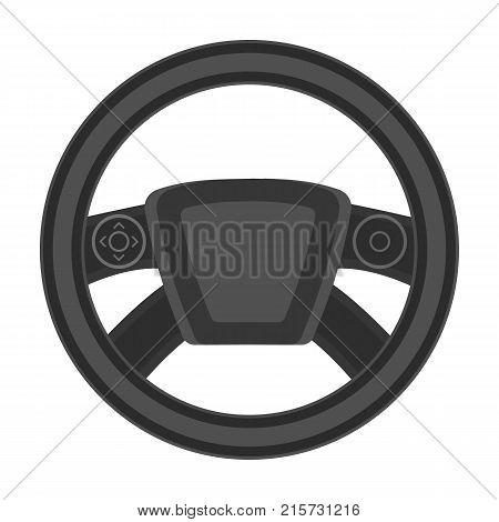 Steering wheel single icon in monochrome style for design.Car maintenance station vector symbol stock illustration .
