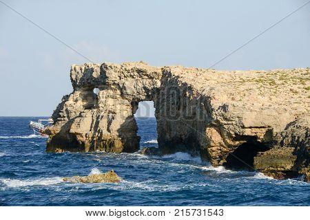 Natural Arc At The Island Of Comino On Malta