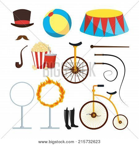 Circus Trainer Items Set Vector. Circus Accessories. Hat, Mustache, Ball, Podium, Stand, Whip, Tobacco Popcorn Soda Bicycle Fire Ring Boots Isolated
