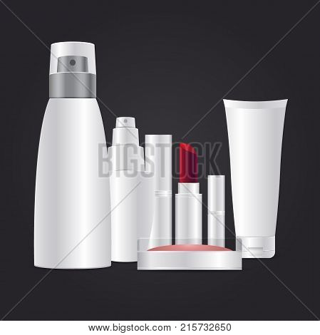 Cosmetic brand template. 3d white realistic cosmetic package on dark grey background vector illustration. Realistic cosmetic bottle mock up set: Powder lipstick hand cream