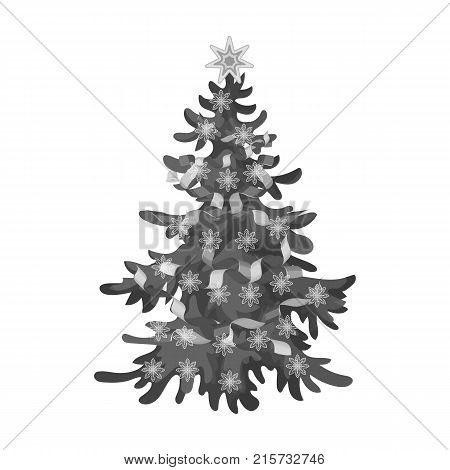 Christmas tree single icon in monochrome style for design. Christmas vector symbol stock illustration .