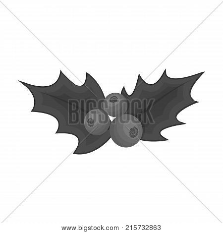 Holly symbol of Christmas single icon in monochrome style for design.Christmas vector symbol stock illustration .