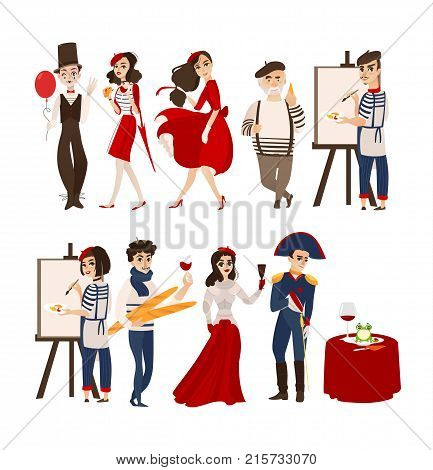 French characters, mimes, artists, Napoleon and Jane of Arc with cheese, baguette, wine as symbols of France, flat cartoon vector illustration isolated on white background. French people set