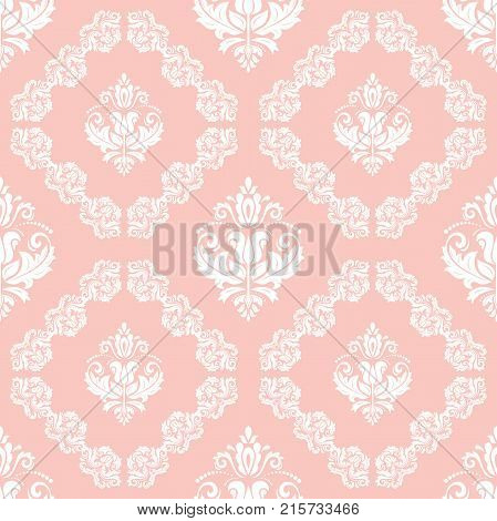 Orient vector classic pattern. Seamless abstract background with repeating white elements. Orient background