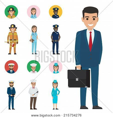 Vector illustration of policeman and lifesaver, medical adviser, bearded mariner and cook with ladle, stewardess in forage cap, manager with briefcase