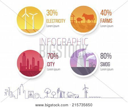 Electricity producing windmills, development of farming, building new cities and overpopulation, problem of smog vector illustration