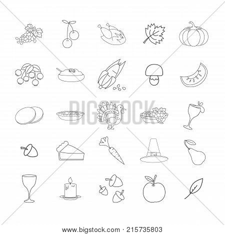 Thanksgiving symbols line art icons collection. Fruits and vegetables, food and drinks, turkey and dinnerware vectors isolated on white background. Autumn harvest festival attributes illustrations
