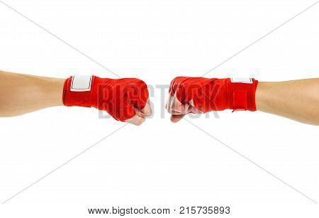 Hand In Red Boxing Bandages. Fist To Fist. Two Fists In Red Boxing Bandages. Sports Armband. Isolate