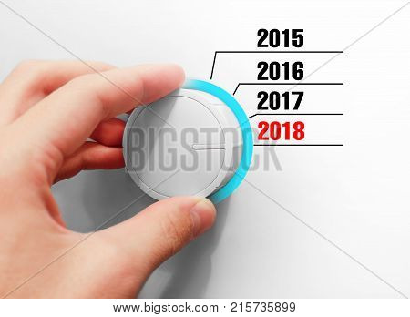 Male Hand Turns The Switch. Switches Years. Includes A New 2018 Year