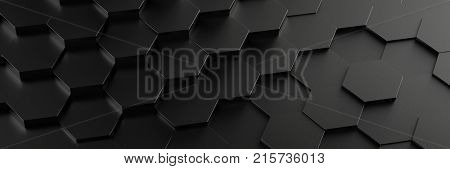 Abstract hexagon pattern texture background in black (3D Rendering)