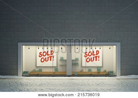 Sold out sign in retail store showcase big shop window (3D Rendering)