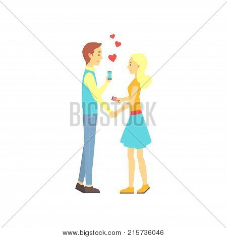 Young boy and girl found their love with dating mobile app. Online date service or website concept for promo. First date of a couple in love. Vector illustration in flat style isolated on white.