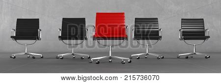 Career and sucess concept with red chief executive chair (3D Rendering)