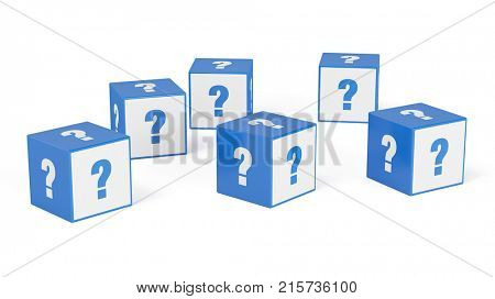 Many cubes with question mark as information or question concept (3D Rendering)