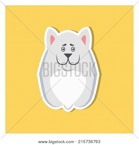 Small puppy of Argentinian dog or mastiff front view flat icon on yellow background. Sitting little purebred pup light color. Vector illustration of thoroughbred dogs. Cartoon drawing graphic design
