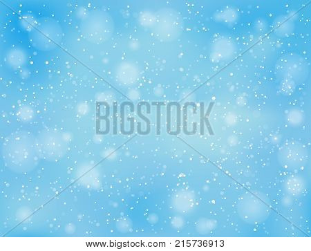 Realistic falling snow on blue sky background. Place for text Merry Christmas and Happy New Year. Winter snowy weather, illustration.