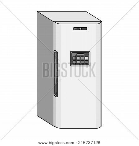 Refrigerator, single icon in monochrome style.Refrigerator, vector symbol stock illustration .