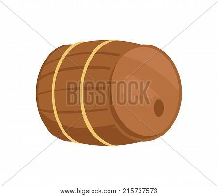 Wooden barrel with alcohol drink vector illustration isolated on white. Cask or tun cylindrical container, made of wooden staves bound by metal hoops