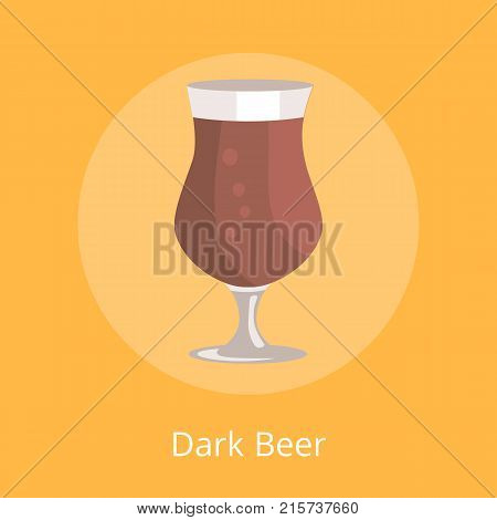Dark beer tulip glass transparent cup on leg vector illustration isolated on orange. Black light alcohol beverage on Oktoberfest festival