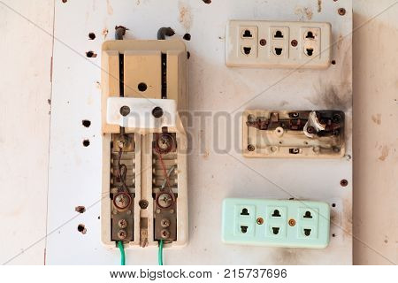 circuit breaker box  old at danger On wooden