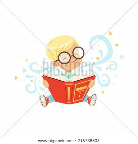 Cheerful little boy sitting on floor with magic story book. Cartoon kid character in glasses. Children imagination. Flat vector design for sticker, getting card or child development center poster.
