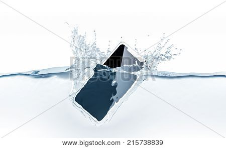 White new smartphone mockup fall in water 3d rendering. Mobile smart phone with touch screen mockup sinks under liquid surface. Electronic waterproof cellphone falling and dive with splashes.