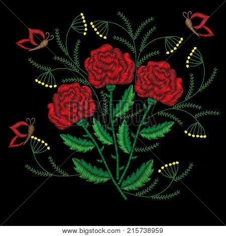 Embroidery stitches imitation red roses with butterfly. Fashion embroidery rose flower on black background. Embroidery big roses vector.