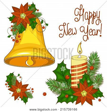 Colorful cartoon illustration of Christmas bells on a white background. Set of elements for your design. Stock vector. Happy new year.