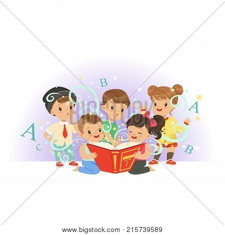 Adorable preschool kids, boys and girls reading educational magic book. Isolated flat vector illustration. Happy and interesting childhood. Design for card, sticker, child development center poster