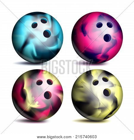 Realistic Bowling Ball Set Vector. Classic Round Ball. Different Views. Sport Game Symbol. Isolated