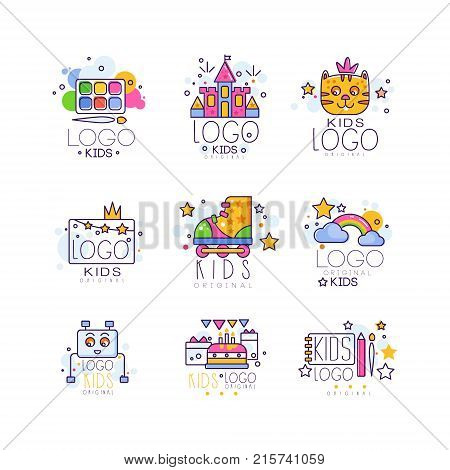 Kids line logo set. Colorful objects paint palette with brush, castle, rainbow with clouds, cake with gifts, drawing pad and pen. Vector for children learning center, event agency card, toy shop.