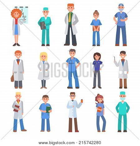 Different doctors vector people doctoral profession specialization nurses and medical staff people hospital doc character illustration. Medico person physician intern medic specialist.