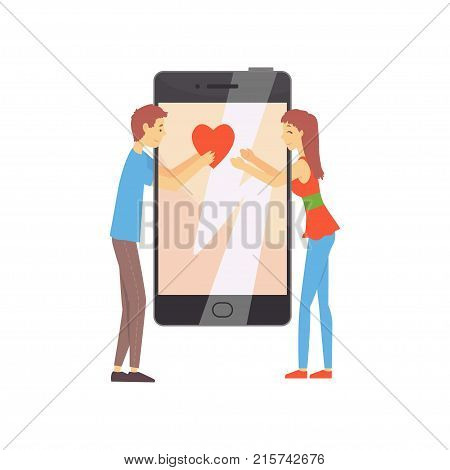 Cute promo for online dating service or mobile app concept with smartphone and young couple boy giving his heart to girl. People finding love. Love chat. Vector flat illustration isolated on white.