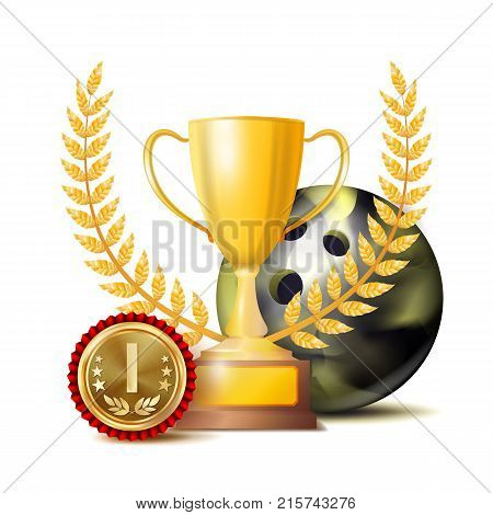Bowing Achievement Award Vector. Sport Banner Background. Ball, Winner Cup, Golden 1st Place Medal. Realistic Isolated