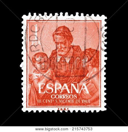 SPAIN - CIRCA 1960 : Cancelled postage stamp printed by Spain, that shows St Vincent de Paul.