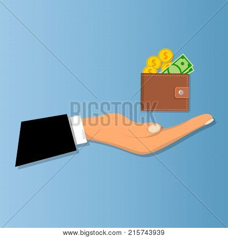 Wallet with coins and banknotes, closed wallet with credit money. Design for pocket or shopping