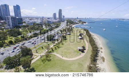 Aerial view facing in a northernly direction over Broadwater Parklands Gold Coast and surrounds