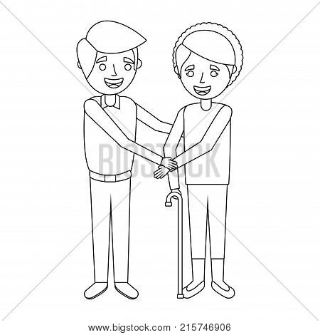 Older Woman Grandma With Young Man Holding Hands