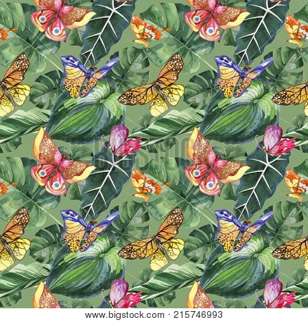 Exotic butterfly wild insect pattern in a watercolor style. Full name of the insect: butterfly. Aquarelle wild insect for background, texture, wrapper pattern or tattoo.