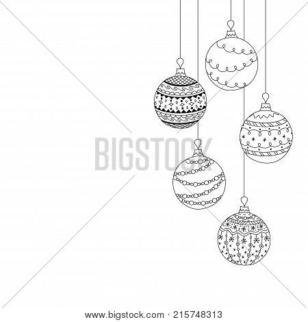 Vector Christmas invitation card from five Christmas ball toys. Hand drawing Christmas tree ball toys. Christmas new year coloring page book
