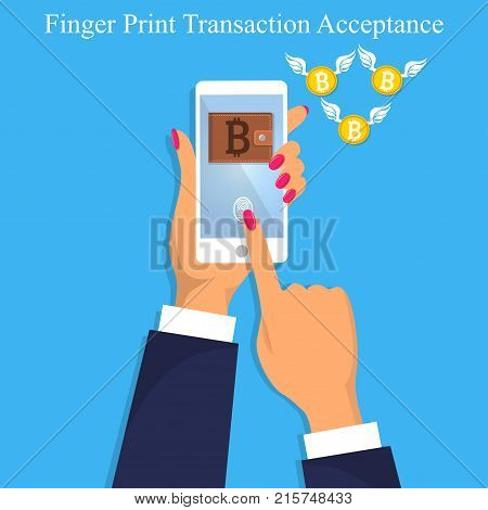 Vector illustration of finger print bitcoin trasnaction acceptance. Finger print transaction unlock. Mobile or smart phone authorization.Flying bitcoins