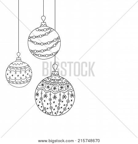 Vector Christmas invitation card from three Christmas ball toys. Hand drawing Christmas tree ball toys. Christmas new year coloring page book